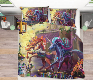 3D Running Unicorn 128 Rose Catherine Khan Bedding Bed Pillowcases Quilt