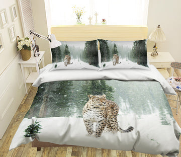 3D Forest Tiger 1935 Bed Pillowcases Quilt