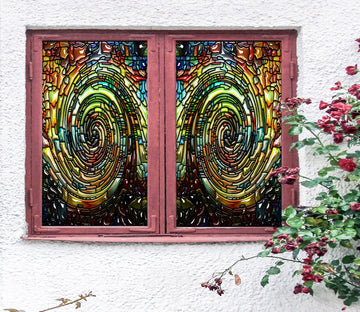 3D Spin Box 194 Window Film Print Sticker Cling Stained Glass UV Block