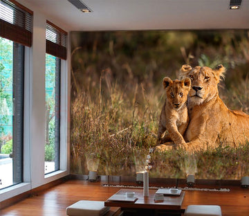 3D Lion Family 1072 Wall Murals