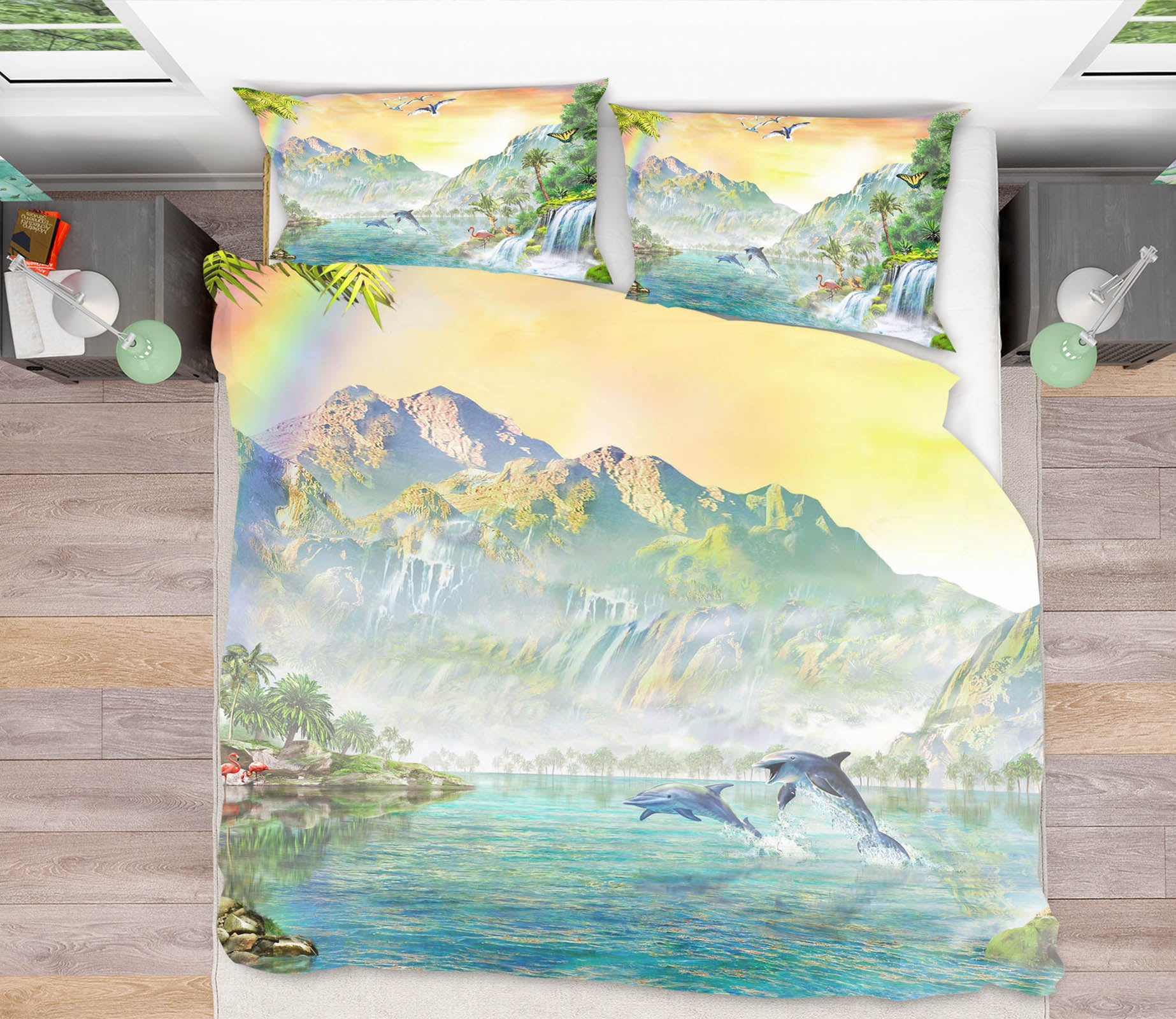 3D Atlantic Dolphins 2038 Adrian Chesterman Bedding Bed Pillowcases Quilt