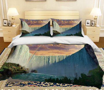 3D Niagara Falls 063 Bed Pillowcases Quilt Exclusive Designer Vincent