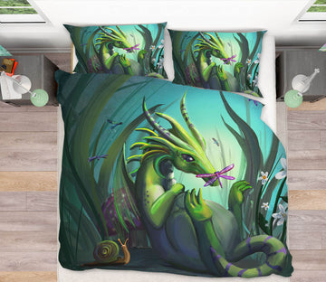 3D Green Dragon 102 Rose Catherine Khan Bedding Bed Pillowcases Quilt