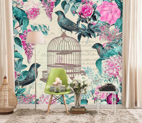 3D Birdcage And Flowers 1399 Andrea haase Wall Mural Wall Murals