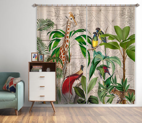 3D Palm Tree Map 085 Andrea haase Curtain Curtains Drapes