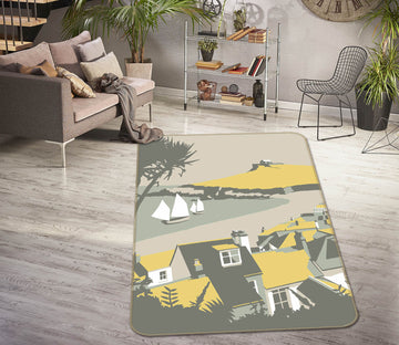 3D Yellow Umbrella 1154 Steve Read Rug Non Slip Rug Mat