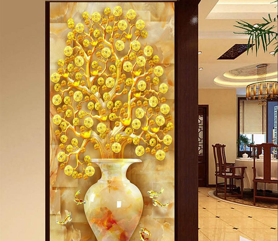 3D Gold Ingot Vase 80 Wall Murals Wallpaper AJ Wallpaper 2