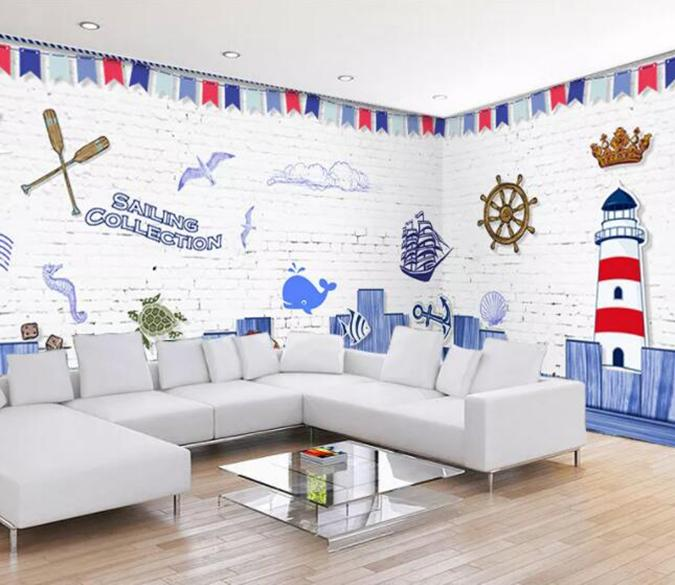 3D City Ship 348 Wall Murals