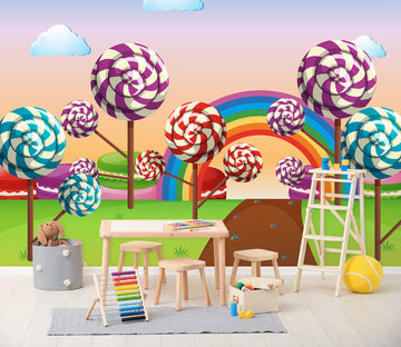 3D Rainbow Lollipop 253 Wall Murals