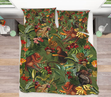 3D Apes Flower 128 Uta Naumann Bedding Bed Pillowcases Quilt