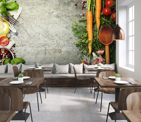 3D Dishes Vegetables 15 Wall Murals