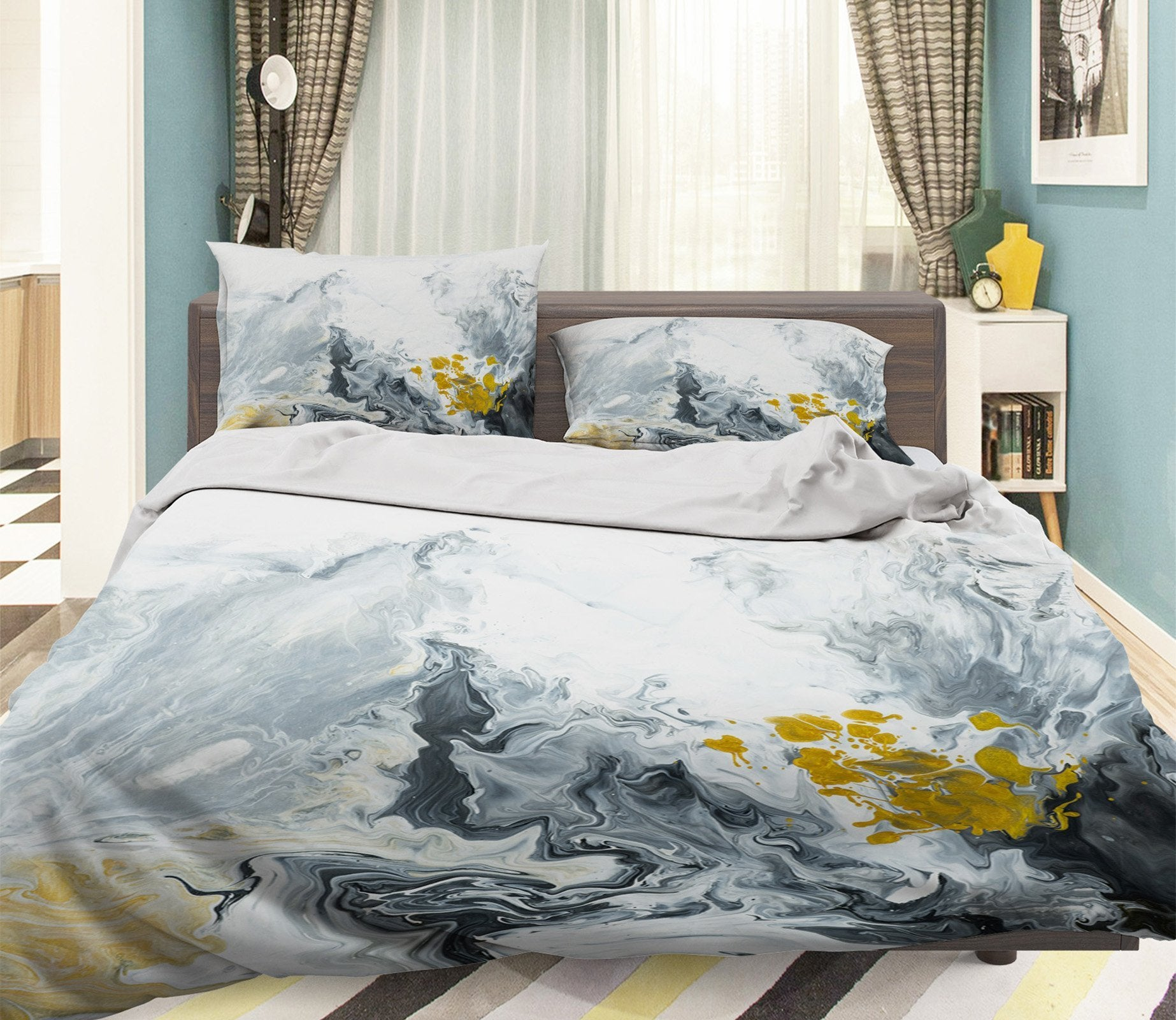 3D Pigment Gray Abstraction 067 Bed Pillowcases Quilt Wallpaper AJ Wallpaper