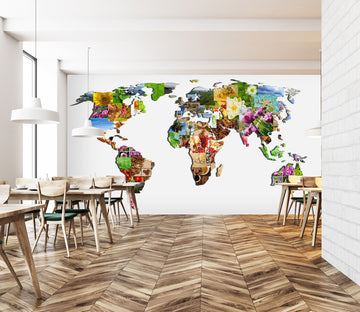 3D Abstract Art 2037 World Map Wall Murals