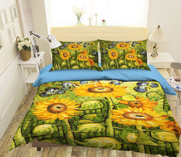 3D Sunflower Painting 047 Bed Pillowcases Quilt