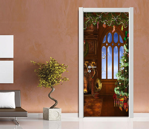 3D Wonderful Christmas Xmas 7 Door Mural