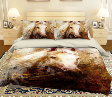 3D White Horse 116 Bed Pillowcases Quilt