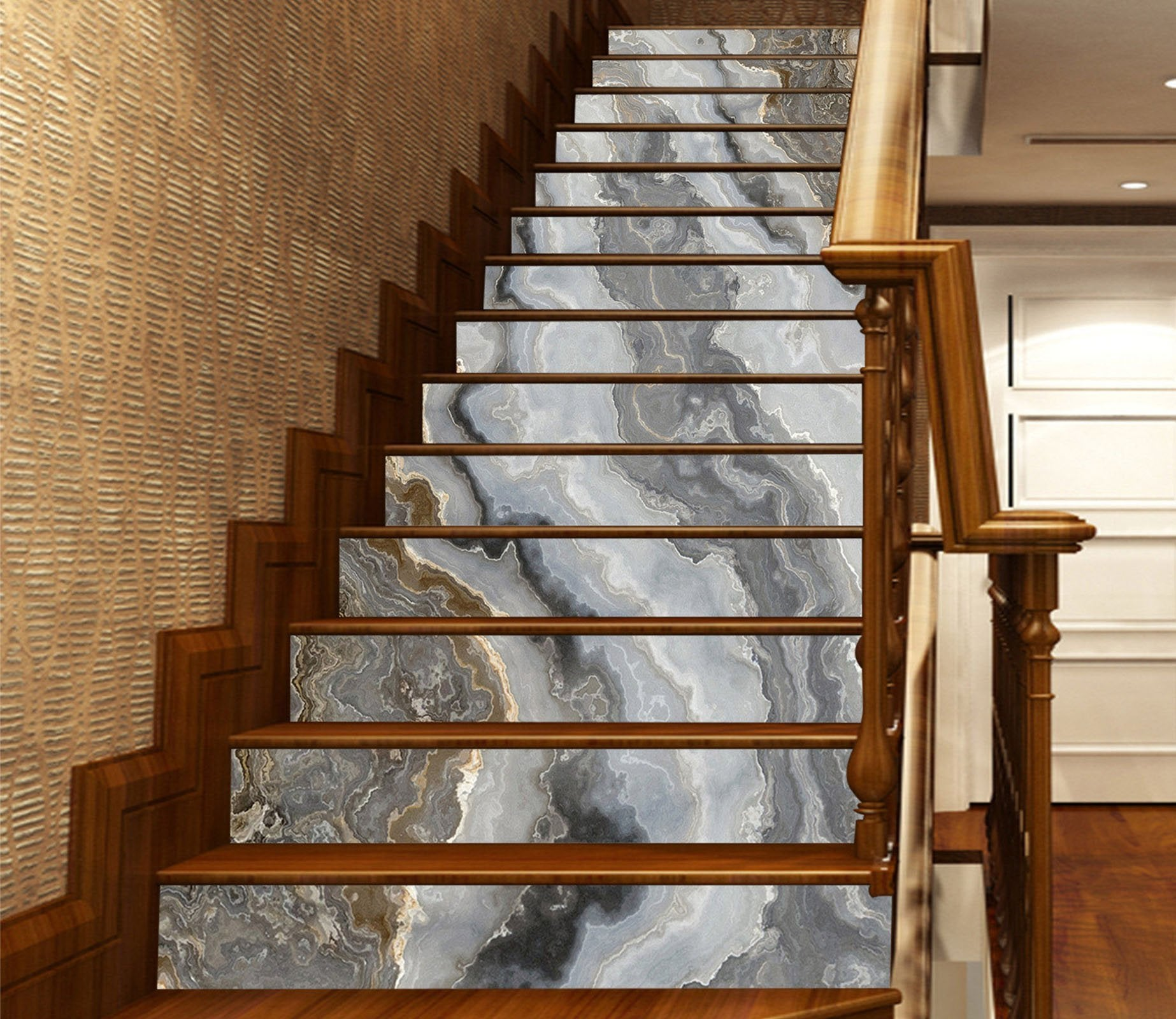 3D Grey River 875 Marble Tile Texture Stair Risers Wallpaper AJ Wallpaper