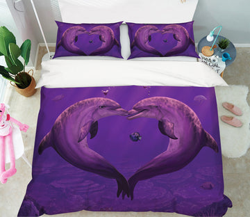 3D Sea Of Hearts Dolphin 075 Bed Pillowcases Quilt Exclusive Designer Vincent