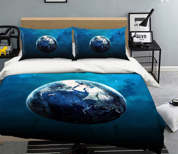 3D Blue Earth 053 Bed Pillowcases Quilt