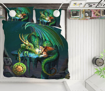 3D Flying Dragon 126 Rose Catherine Khan Bedding Bed Pillowcases Quilt