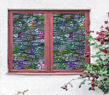 3D Colored Flower 446 Window Film Print Sticker Cling Stained Glass UV Block