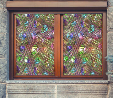 3D Glass Color Leaves 183 Window Film Print Sticker Cling Stained Glass UV Block