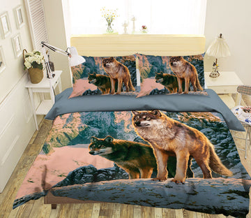 3D Wolf Couple In Sunset 102 Bed Pillowcases Quilt Exclusive Designer Vincent
