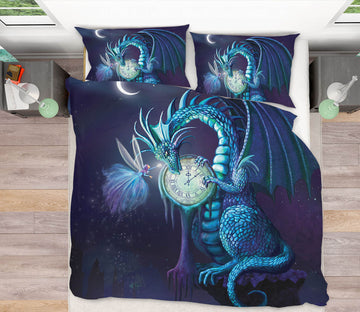 3D Clock Dragon 124 Rose Catherine Khan Bedding Bed Pillowcases Quilt