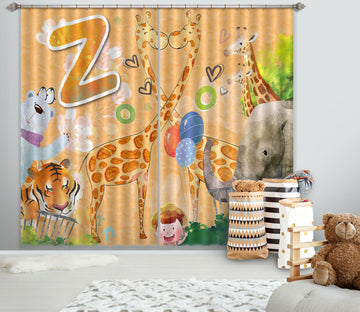 3D Cute Giraffe 728 Curtains Drapes