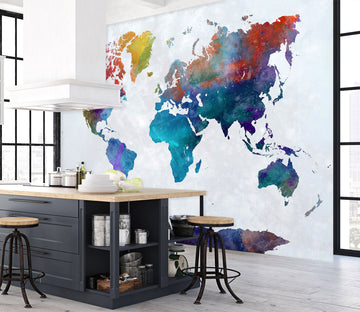 3D Abstract Art 2013 World Map Wall Murals