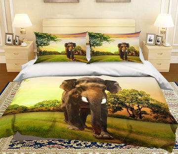 3D Lawn Elephant 125 Bed Pillowcases Quilt