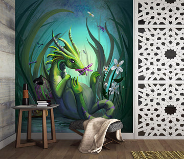 3D Green Dragon 1401 Rose Catherine Khan Wall Mural Wall Murals