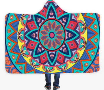 3D Wavy Lotus 088 Hooded Blanket