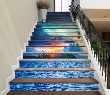3D The Other Side Of Sea Blue 632 Stair Risers