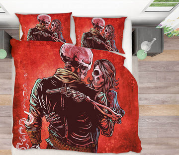 3D Skeleton Love 112 David Lozeau Bedding Bed Pillowcases Quilt