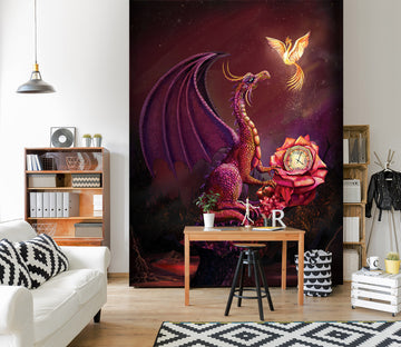 3D Flying Dragon 1423 Rose Catherine Khan Wall Mural Wall Murals