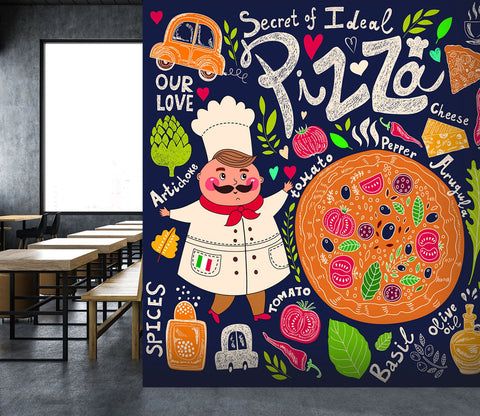 3D Pizza Chef Vegetable 29 Wall Murals