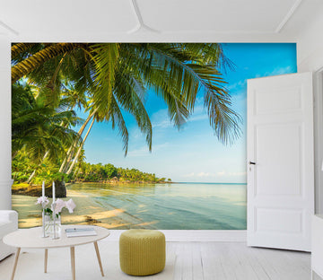 3D Sea Beach Tree 82 Wall Murals