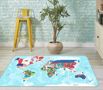 3D Colored Island 325 World Map Non Slip Rug Mat