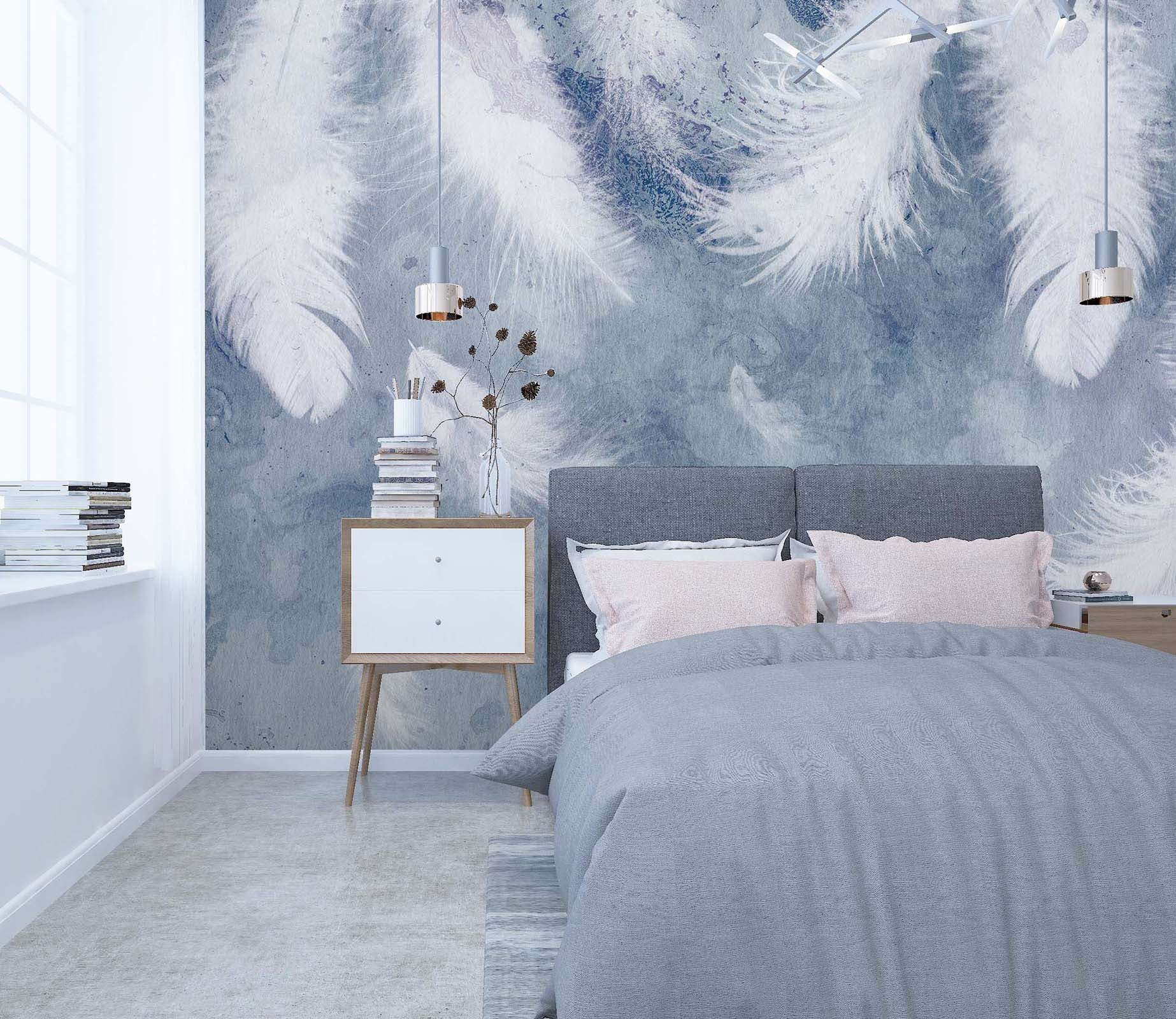 3D White Feather 115 Wall Murals