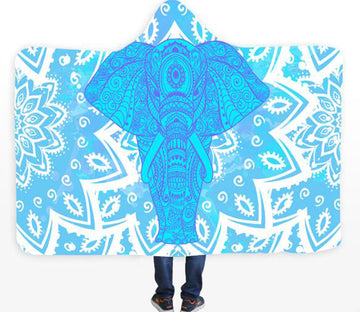 3D Elephant Texture 083 Hooded Blanket