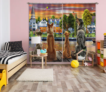 3D Dog Guard 062 Adrian Chesterman Curtain Curtains Drapes