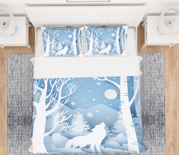 3D Snow Tree Wolf 64012 Bed Pillowcases Quilt