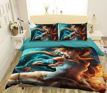3D Flame Magic Girl 439 CG Anime Bed Pillowcases Duvet Cover Quilt Cover