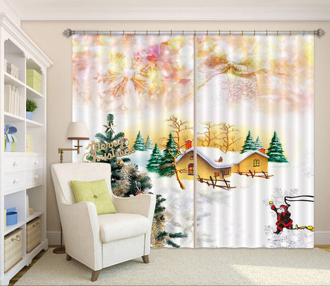 3D Christmas Tree House 41 Curtains Drapes