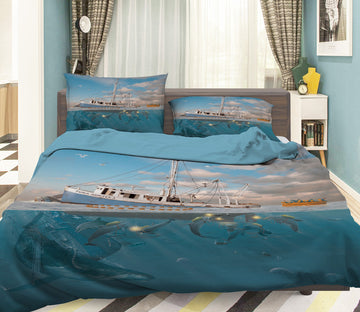 3D Rage Of The Dolphin 071 Bed Pillowcases Quilt Exclusive Designer Vincent
