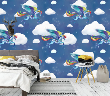 3D Rainbow White Clouds 1413 Rose Catherine Khan Wall Mural Wall Murals