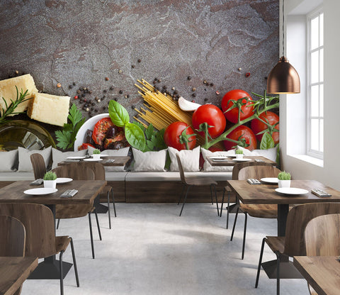 3D Kitchen Dishes Vegetables 07 Wall Murals