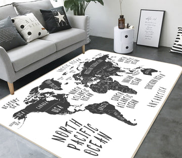 3D Grey Stone 296 World Map Non Slip Rug Mat