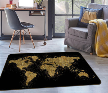 3D Gold Pattern 282 World Map Non Slip Rug Mat